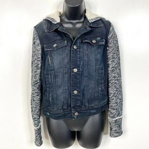 Free People Womens Knit Hooded Denim Jacket Button Front Grunge Tomboy Small